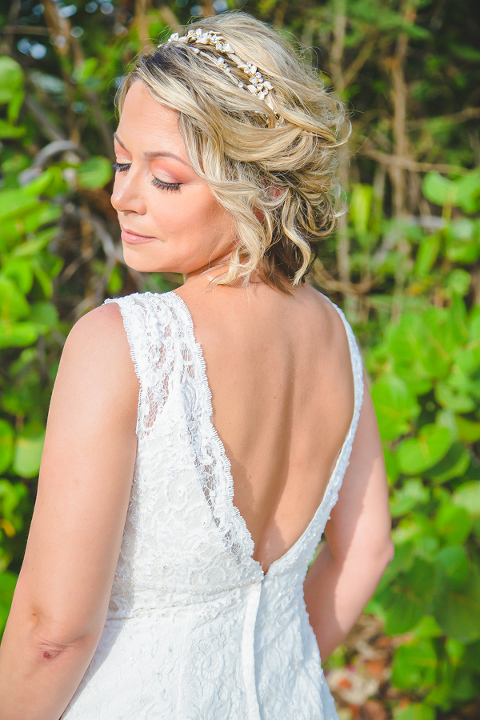 St. Croix bride in lace wedding dress
