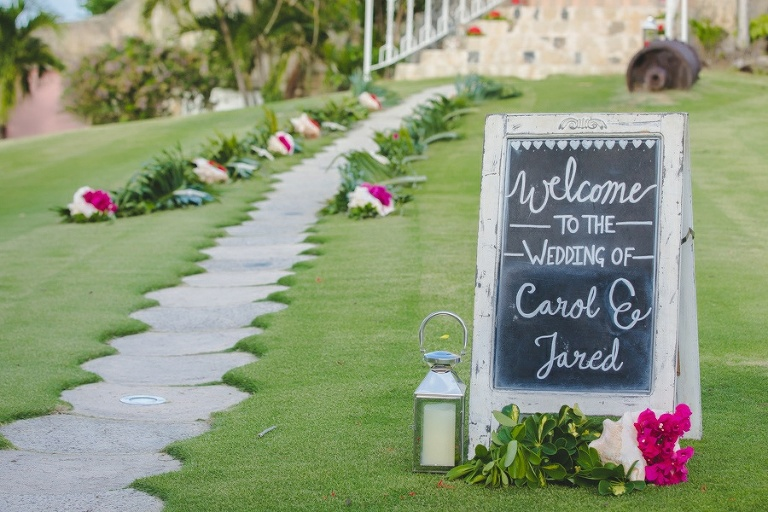 Wedding sign in front of Sugar mill ceremony site