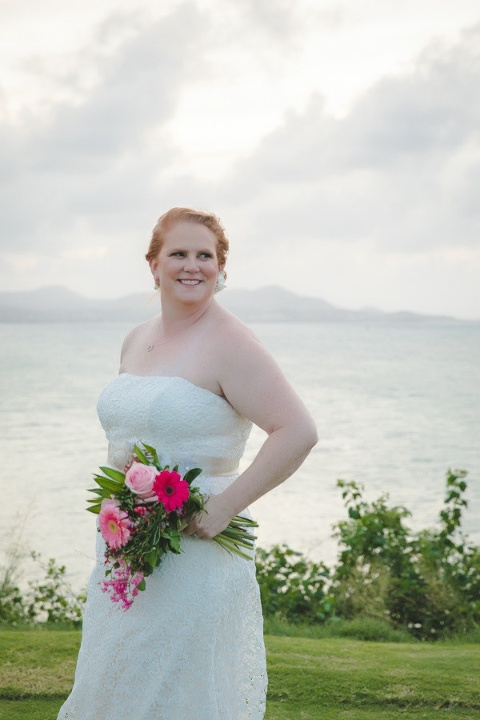 St. Croix bride portrait with ocean in the background