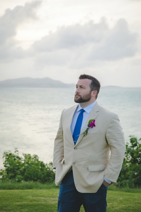 St. Croix groom portrait with ocean in the background